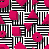 Vector seamless geometric pattern. Pink 3d shapes on black and white striped background. Design for fashion textile print, wrapping paper, web backgrounds, toys, puzzle, constructor package.
