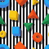 Vector seamless geometric pattern. Flat style 3d shapes on black and white striped background. Design for fashion textile print, wrapping paper, web backgrounds, toys, puzzle, constructor package.