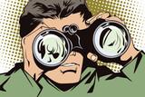 Fototapety People in retro style pop art and vintage advertising. Man with binoculars.