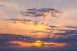 Amazing Sundown Sky with Real Golden Sunbeams