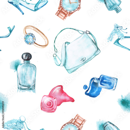 Materiał do szycia Watercolor fashion and cosmetics background with make up artist objects: ladies watch, handbag, nail Polish, jewelry, shoes, perfume.