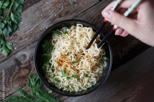 Chinese noodles. Top view. Poster
