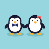 Male penguin and female penguin as a cute couple holding hands in blue background.