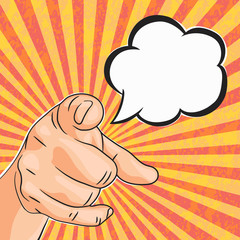 Vector Pop art vintage textured poster man hand pointing on you with speech bubble for your text. Comics style bright we need you of we want you background.