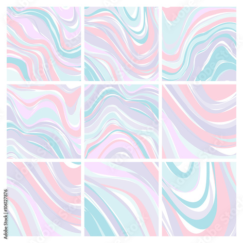 Set of Marble Patterns - Abstract Texture with Soft Pastels 2016 Trand Colors -  Poster