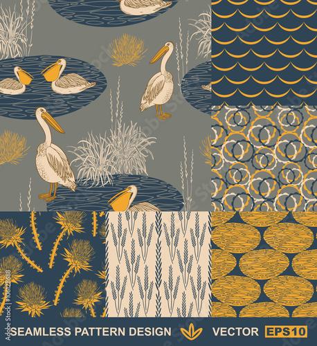 Fototapeta Retro background - birds, leafs, geometric ornaments - summer, spring theme