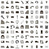100 Logistics icons set, simple style