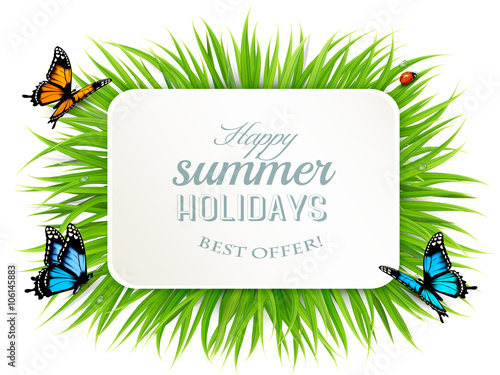 "Happy Summer Holidays Background Vector: ""Happy Summer Holidays Banner With Grass, Butterflies And"