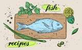 Vector healthy food illustration. Fish recipes Easy to change colors