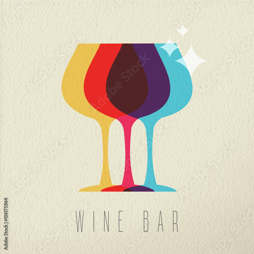 Panel Szklany Wine bar concept glass drink icon color design