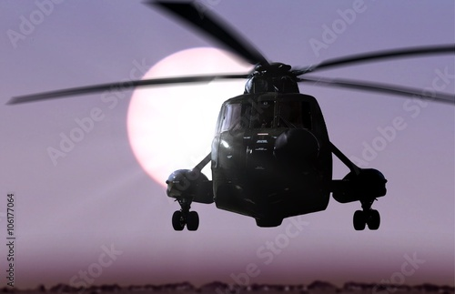 obraz lub plakat Helicopter flying with sunlight background