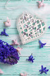 Decorative heart and fresh spring  flowers hyacinths