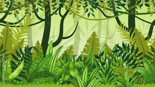 fototapeta na ścianę Seamless nature jungle cartoon landscape