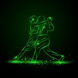Fototapety Couple dancing tango. Vector green neon illustration.