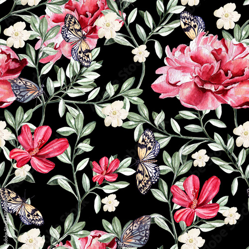Pattern with watercolor realistic  chinese rose, peony and butterflies.