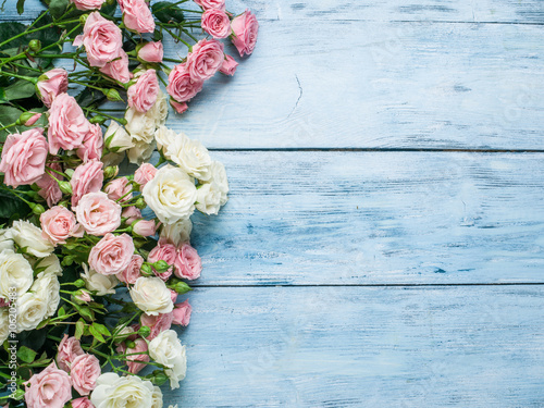Zdjęcia na płótnie, fototapety, obrazy : Delicate fresh roses on the blue wooden background.