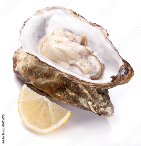 Poster Raw oyster and lemon on a whte background.