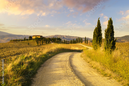 Poster Honing Tuscany Landscape,autumn field,lonely house in Tuscany