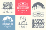 Vector Set of Badges, Logos and Sign Break Dance