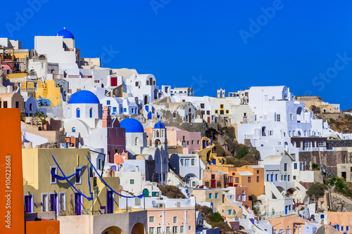 Foto op Canvas colorful beautiful Greece - amazing Santorini.view of Oia villag