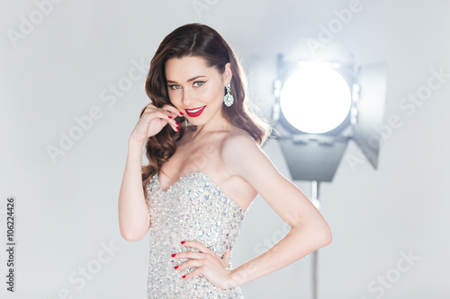 Happy woman in fashion dress Poster