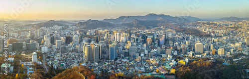 Foto op Canvas Seoel Seoul city South korea panorama,sunset time