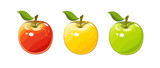 Ripe juicy apple set of vector illustration - 106225845