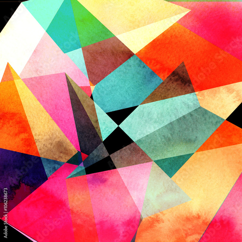 abstract watercolor geometric background плакат