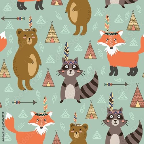 Cotton fabric Tribal seamless pattern with cute animals