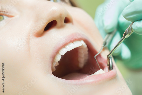 Woman teeth close up dentist check Poster
