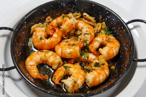 delicious prepared shrimps in the fry pan