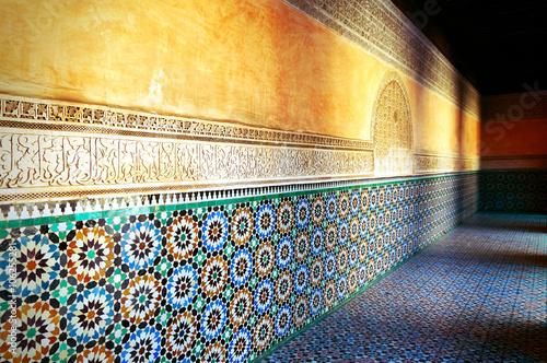 Papiers peints Maroc Decorations and shadows of the old Koranic School in Marrakech at sunset