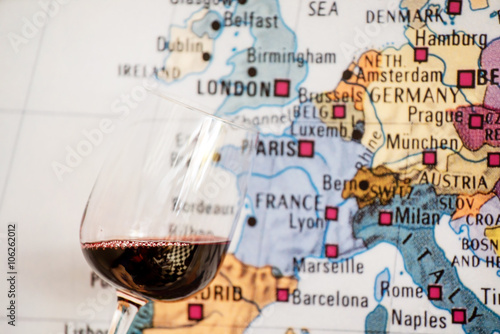 glass of wine near map Poster