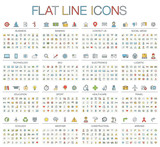 Fototapety Vector illustration of thin line color icons business, banking, contact us, social media, technology, logistic, education, sport, medicine, travel and weather. Flat symbols set