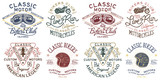 Vintage Classic Motorcycle badges collection clean and grunge