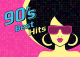 Fototapety Best hits of 90s illistration with disco woman wearing glasses on pink background. Bright illustration for retro party flyer or poster