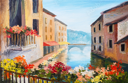 Fototapeta oil painting, canal in Venice, Italy, famous tourist place