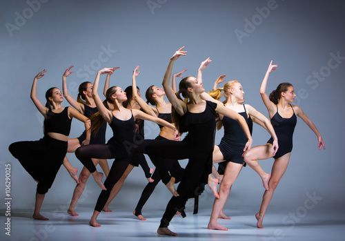 Naklejka The group of modern ballet dancers