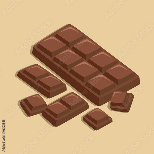 Chocolate Bar and Chocolate Pieces in Light Brown Background