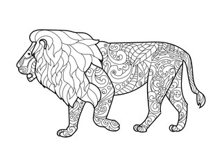 Lion coloring book for adults vector