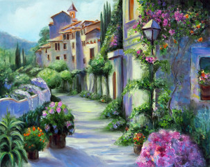 Art Oil Painting Picture Flower Street in Sunny Day