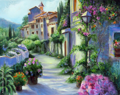 Obraz w ramie Art Oil Painting Picture Flower Street in Sunny Day
