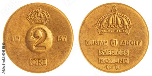 Poster 2 ore 1967 coin isolated on white background, Sweden