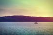 Fishermen on a boat at Lake McBride after sunset