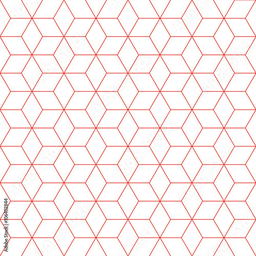 Fototapeta na wymiar Red line cube pattern background. Vintage retro vector design element.