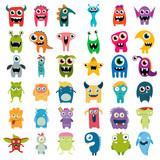 Fototapety big vector set of cartoon cute monsters