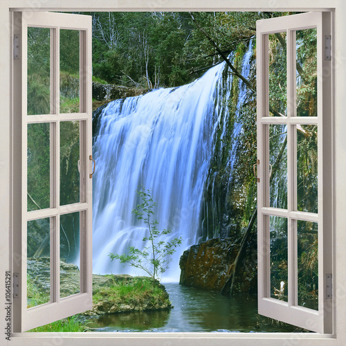 Open window to Guide Falls, Alpaca Park, North West of Tasmania just outside Burnie, Auastralia