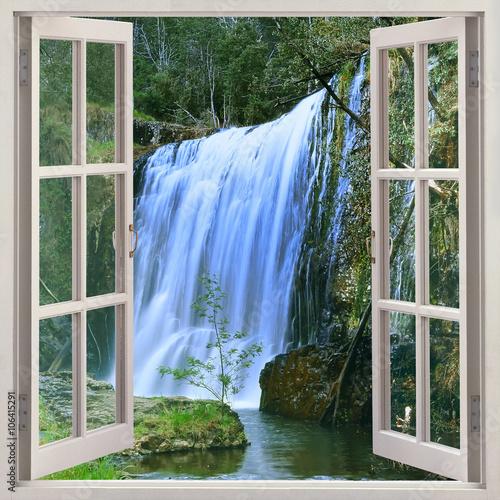 Open window to Guide Falls, Alpaca Park, North West of Tasmania just outside Burnie, Auastralia