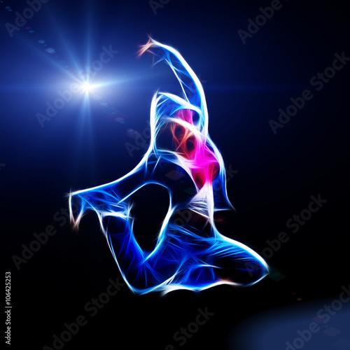 Naklejka Female hip-hop dancer jump in the dark