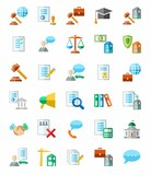 Legal services, colored icons, white background.
